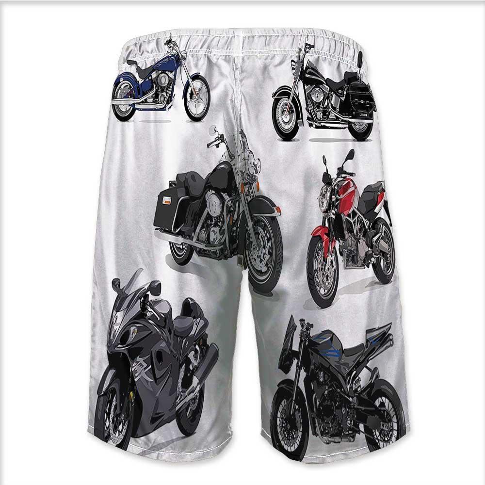 Mens Swim Trunks-Set of Unique Original Motorcycles Fr Summer Swim Suits for Men