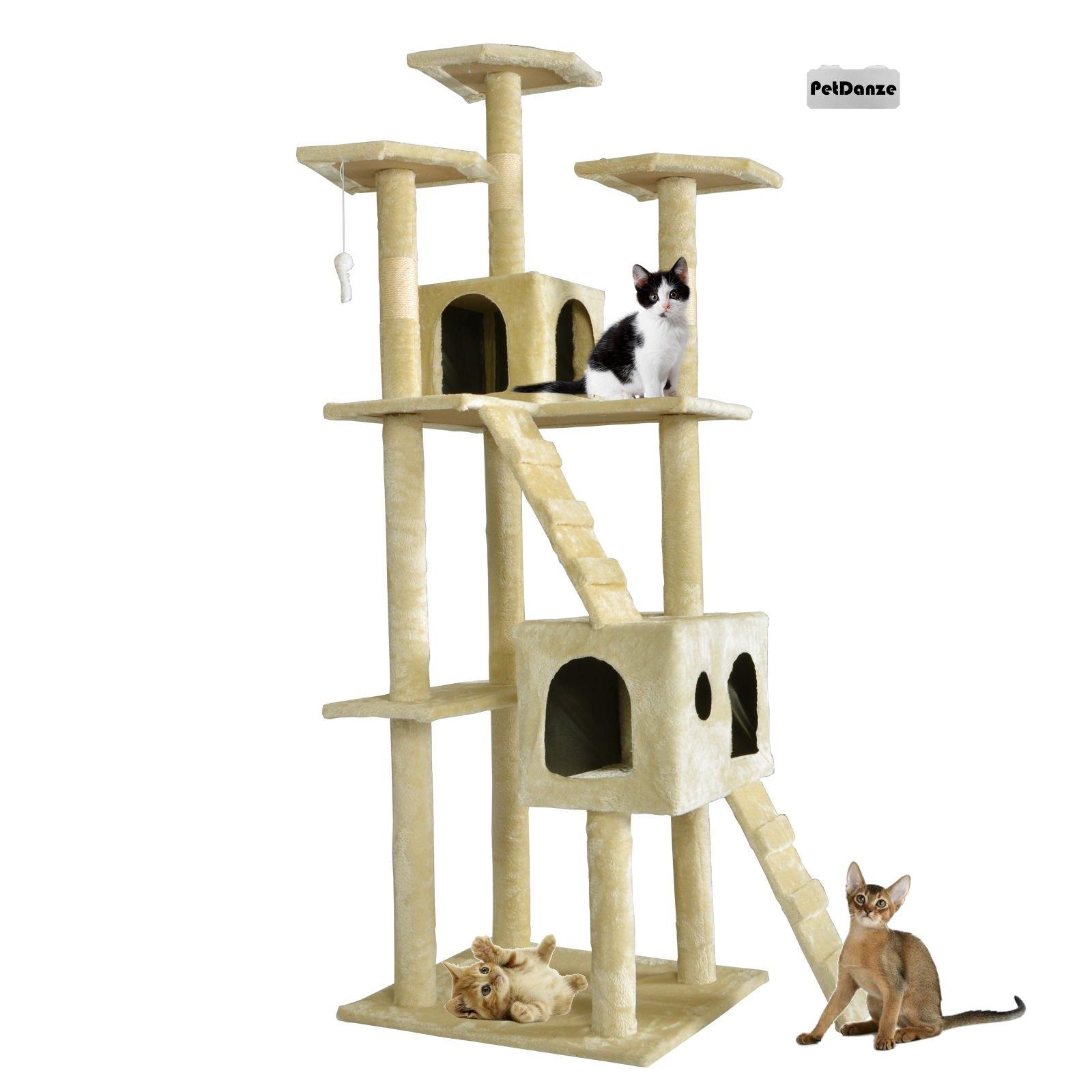 PetDanze Cat Tree Kitten Condo Post Scratcher | Kitty Tower Scratching Post Furniture | Cat Climbers Play House | 73'' Height, Beige