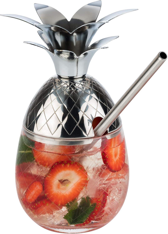 Buddy/´s Bar 350 ml Acero Inoxidable y Cristal 2 Vasos de c/óctel de pi/ña Incluye Caja de Regalo Apto para Alimentos 2 Unidades de Acero Inoxidable Cristal