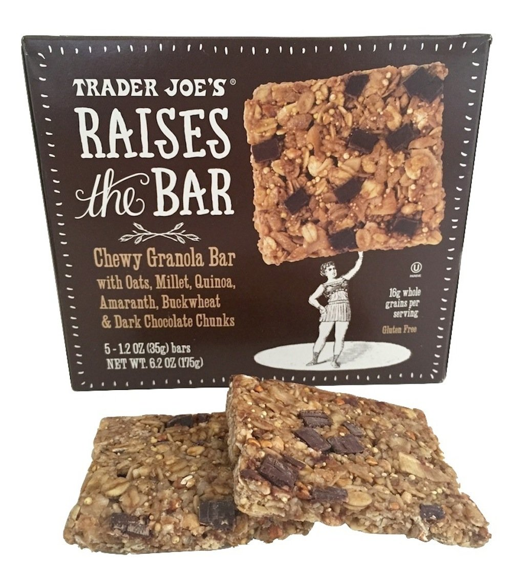 Trader Joes Raises the Bar Gluten Free Chewy Granola Bars, Dark Chocolate Chunk, 5 Count Box, (2 Pack) by Trader Joe's