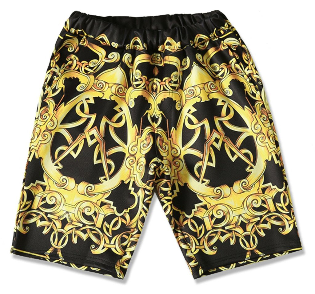 Pizoff Mens Short Sleeve Luxury Gold Baroque Print T-Shirt Shorts Sets Elastic Sport Lightweight Brand Design Y1817-09-S by Pizoff (Image #4)
