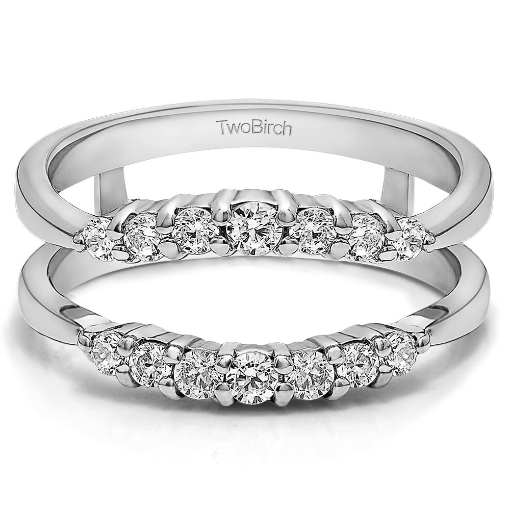 TwoBirch Sterling Silver Curved Wedding Ring Guard Enhancer with Charles Colvard Created Moissanite (0.32 ct. tw.) by TwoBirch