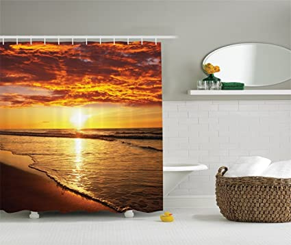 Ambesonne Hawaiian Decor Shower Curtain Scenery Picture Print Of Beach And Sunset Ocean Waves