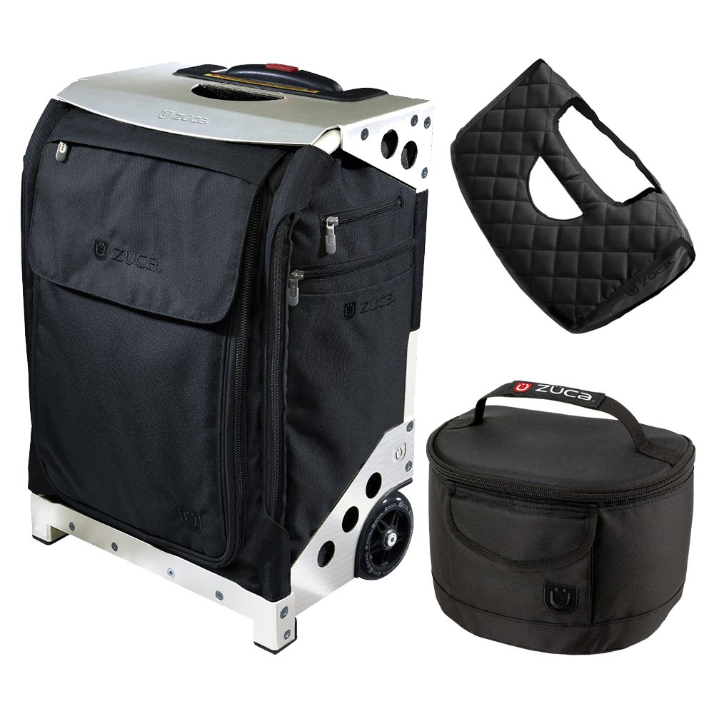Zuca Flyer Travel Black Bag/Silver Case w Pouches, Gift Seat Cushion + Lunchbox by ZUCA