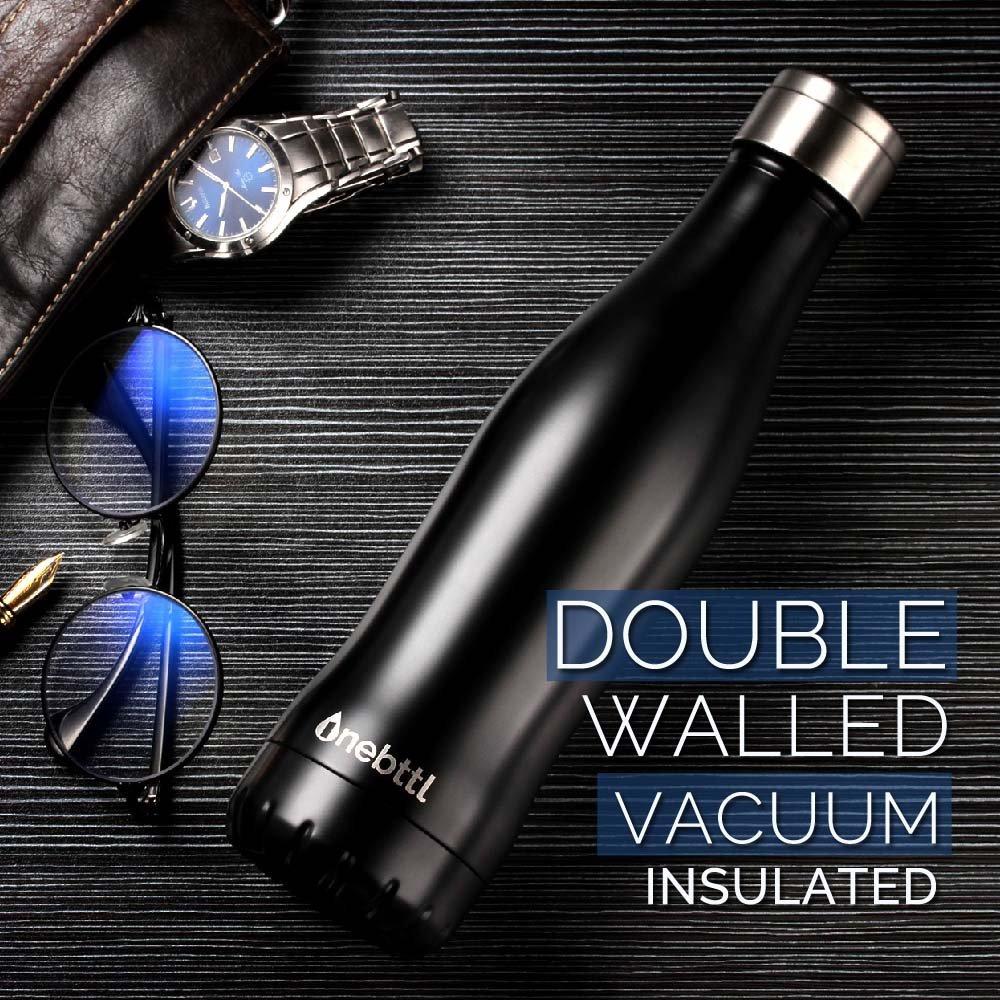 Botella Agua Deporte Negra Botella Acero Inoxidable con Doble Pared Con Aislamiento Al Vac/ío Onebttl Aqua Botella Termica /—400 ml//13.5 oz Cantimplora Botella Agua