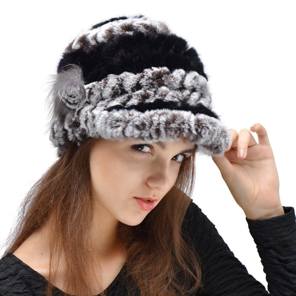 CharmantFur 8 Färbig Echt Kaninchen Gestreift Fellmütze Damenmütze Pelzmütze Fliegermütze für Damen Frauen im Winter Helbst Modisch Elegant Design