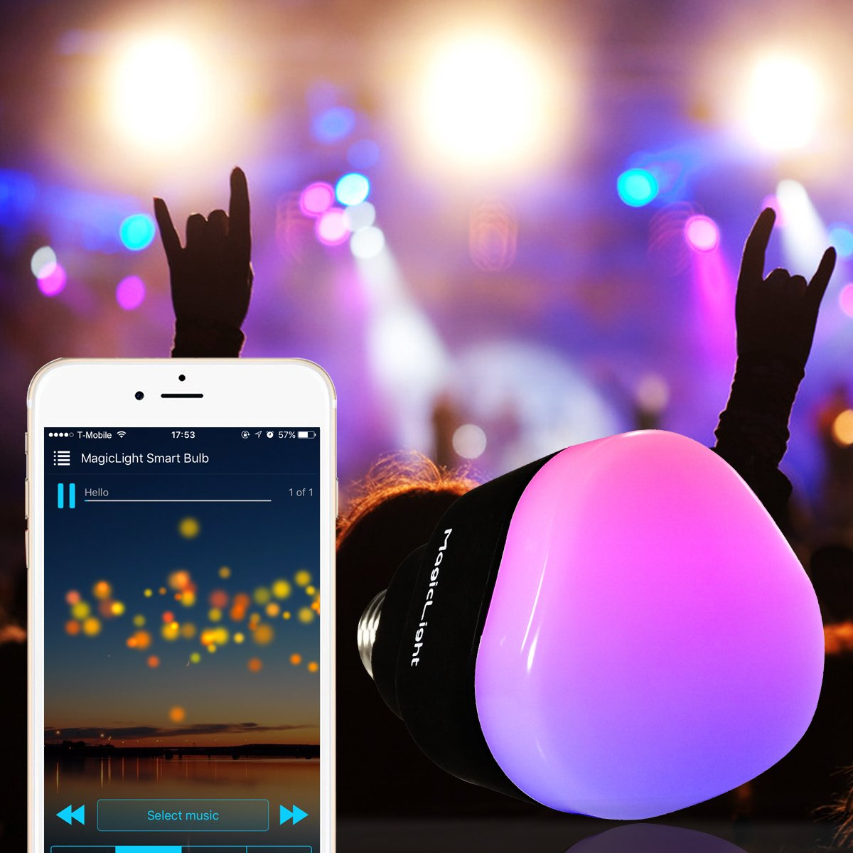 MagicLight WiFi Smart Light Bulb - Triangle Style - Dimmable Multicolored 60w Equivalent Sunset Sunrise Sleeping Night Lights - Compatible with Alexa & Google Home Assistant by MagicLight (Image #4)