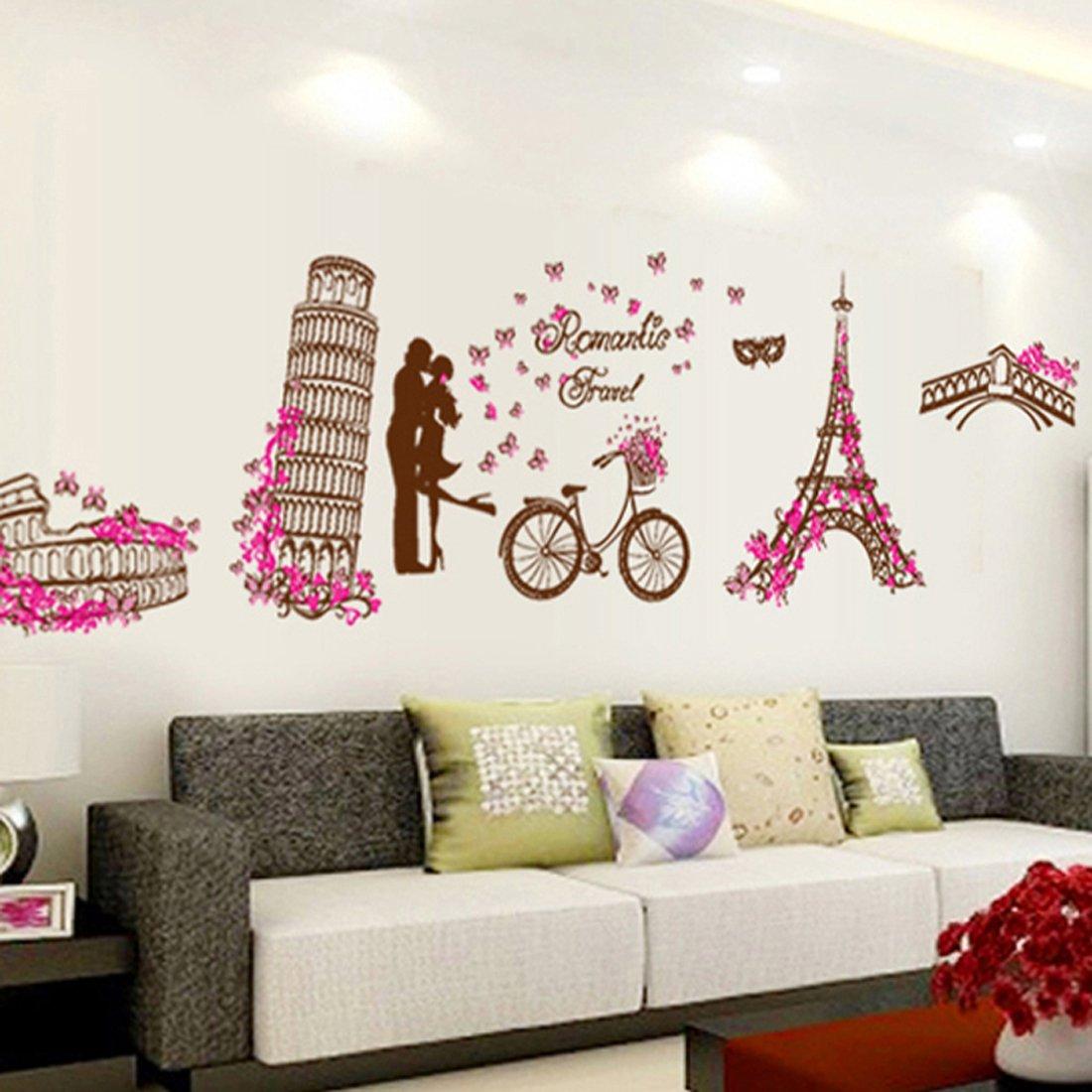 Rom Ntico De La Torre Eiffel Mariposas Adhesivo Decorativo Para  ~ Murales Decorativos Para Habitaciones De Adultos