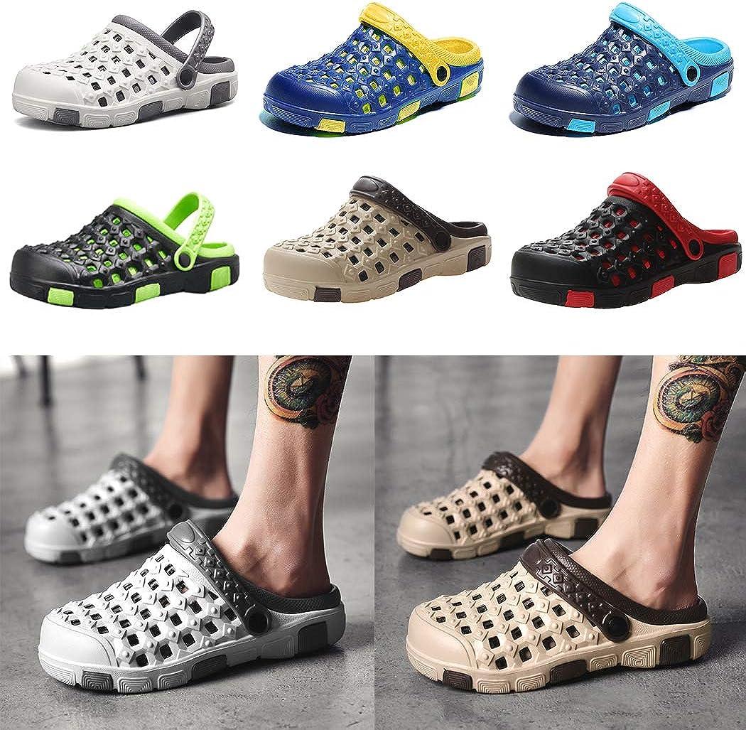 wwweyi Summer Hole Shoes Men Sandals Seaside Flat Non-Slip Beach Slippers Sandals