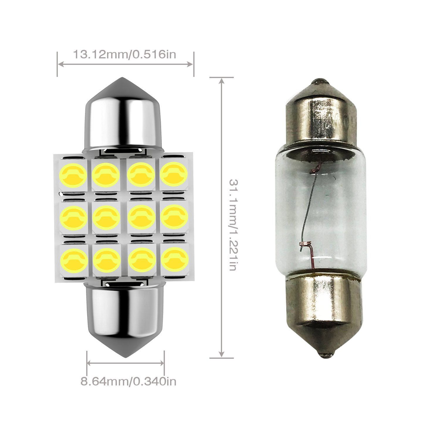 Trunk Light(Pack of 8) T10 194 168 2825 W5W 3SMD LED Bulbs White 6000k Super Bright 3030 Chipsets Used for Dome Light Map Light License Plate Lights Door Courtesy Light