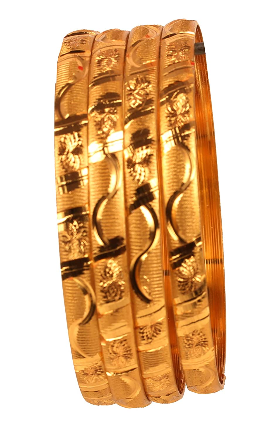 Touchstone New Golden Bangle Collection Indian Bollywood Desire Brass Base Artistic Indian Knitted Mat Work Designer Jewelry Bangle Bracelets Set of 4 in Gold Tone for Women