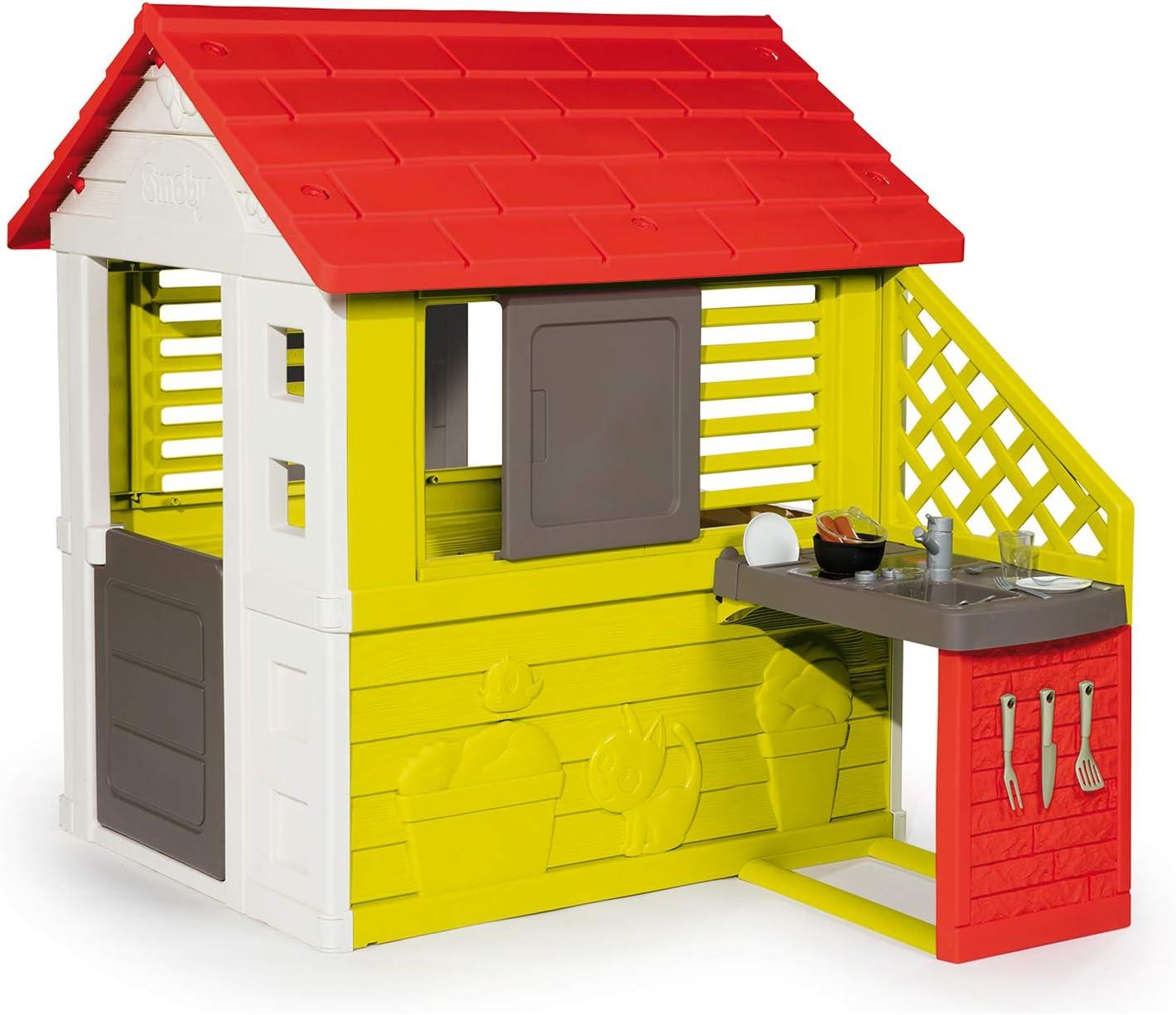 Smoby Nature II - Casa Infantil con Cocina y Accesorios, Color Verde (810713)