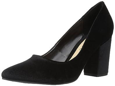 038d848ae Rampage Women's Bethie Chunky Block Heel Pump, Black Velvet, 7 Medium US