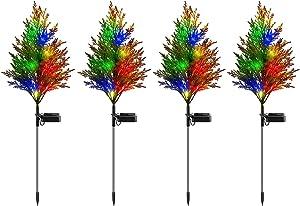 iRonrain Solar Garden Lights Pine, Solar Christmas Tree 2 Modes Lights, Solar Ground Lights IP65 Waterproof, Yard Decoration Solar Power Multi-Color Flickering Pine Lights for Patio Lawn Pathway