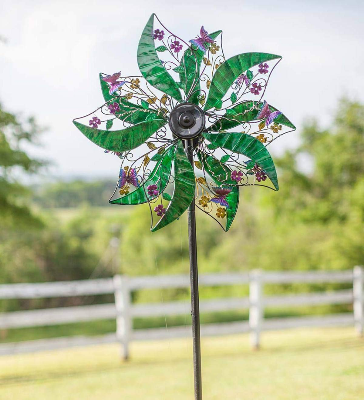 Wind & Weather Green and Purple Solar Spinner - 23.5 W x 10 D x 75 H