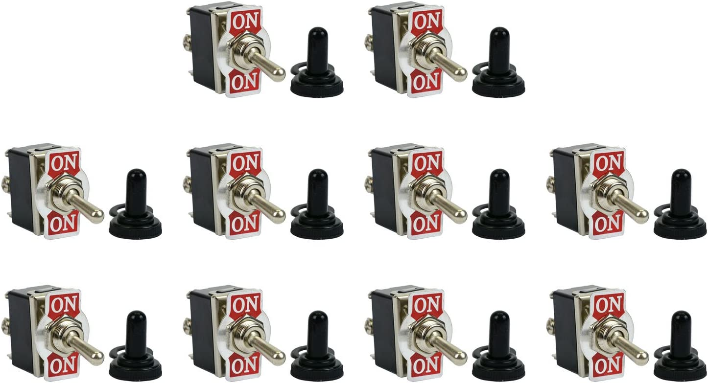 ON -OFF- ON 10 pc TEMCo 20A 125V SPDT 3 Terminal Toggle Switch Momentary +Boot