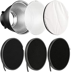 """Soonpho 7"""" Standard Reflector Diffuser Lamp Shade Dish with 10° /30°/ 50° Degree Honeycomb Grid White Soft Cloth for Bowens Mount Studio Strobe Flash Light Speedlite"""