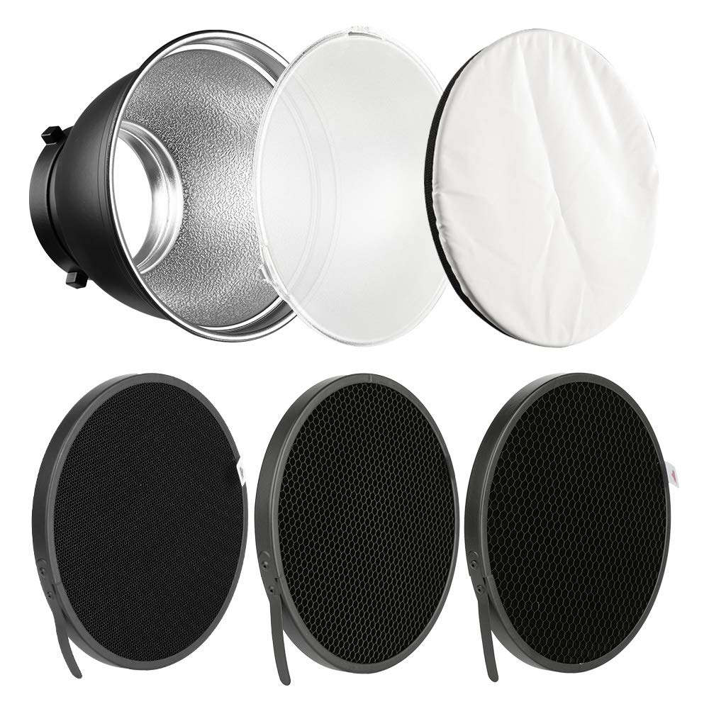 Soonpho 7'' Standard Reflector Diffuser Lamp Shade Dish with 10° /30°/ 50° Degree Honeycomb Grid White Soft Cloth for Bowens Mount Studio Strobe Flash Light Speedlite by soonpho