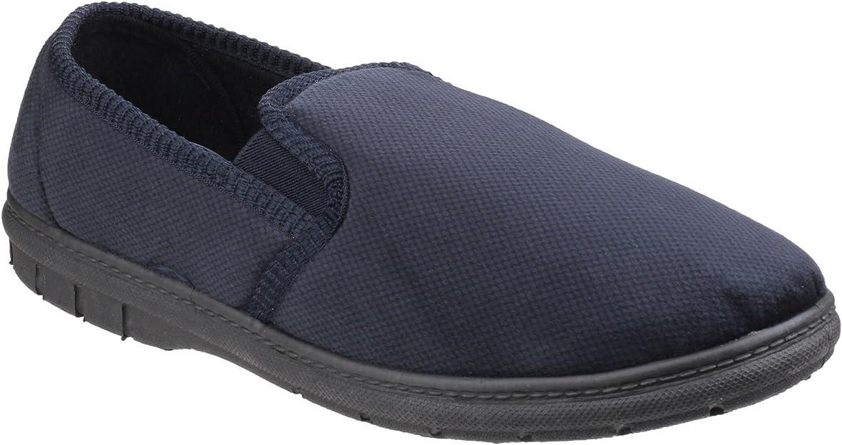 Fleet /& Foster GOA Mens Memory Foam Footbed Leather Slip On Loafer Shoes Black