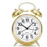 Uniquebella Réveil matin, Lumineux et Silencieux, Rond Diamètre 4 pouces(10cm) à Double cloches- Doré