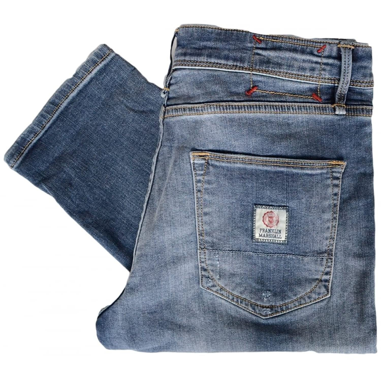 Franklin & Marshall Seattle Mid Blue Ribbed Jeans