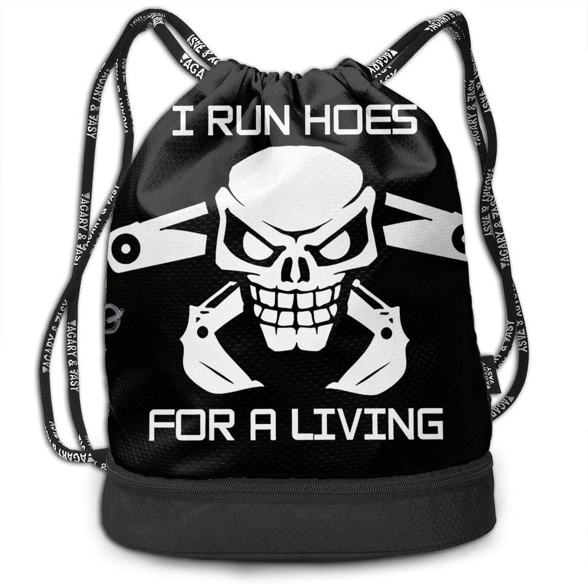 Thomas C Gaona I Run Hoes for Money Original Shoulder Bag Drawstring Backpack Beam Mouth Single Pocket Outdoor Shopping Bag Backpack