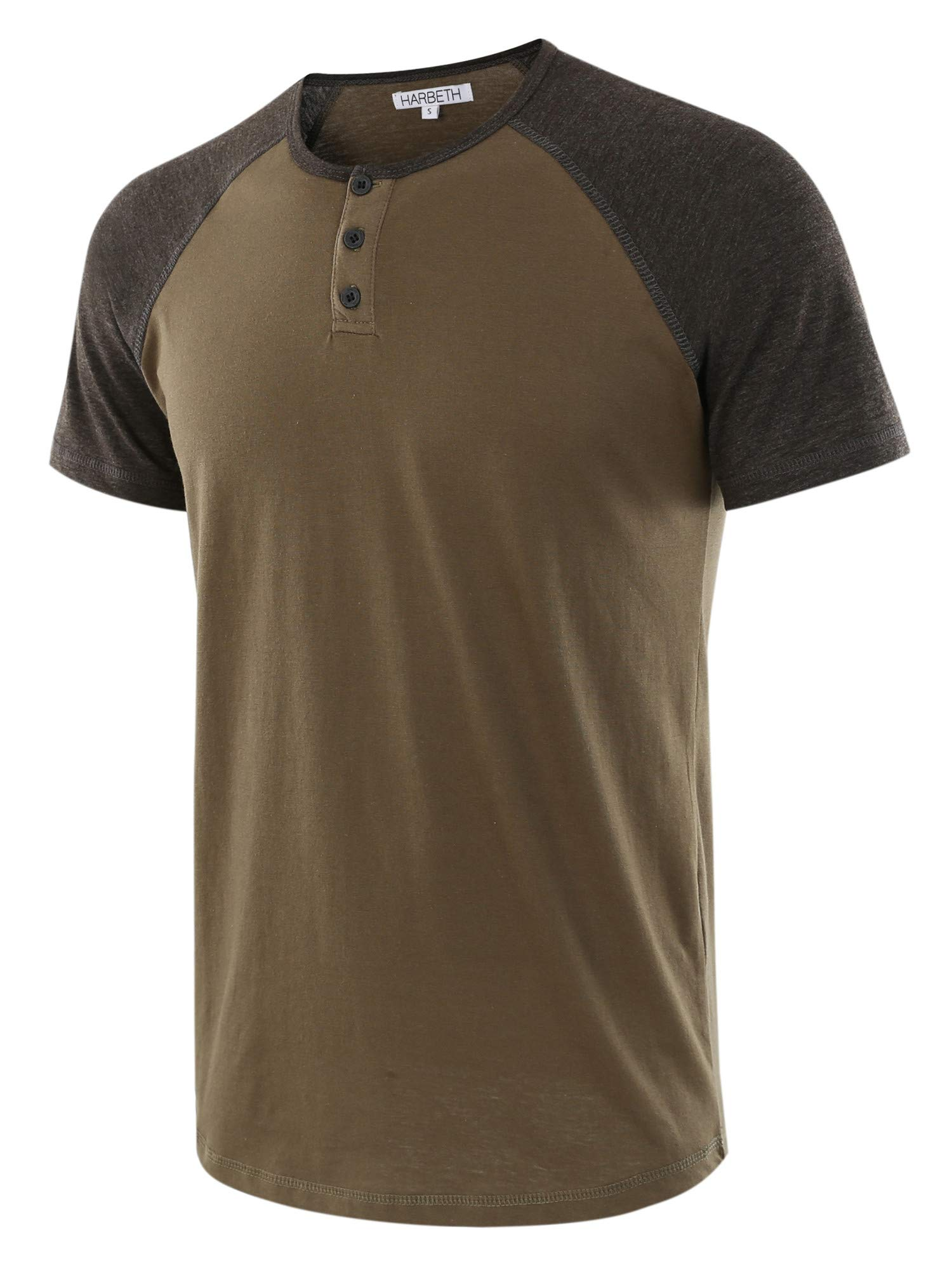 HARBETH Men's Casual Short Sleeve Henley Shirt Raglan Fit Baseball T-Shirts Tee Army/H.Charcoal M