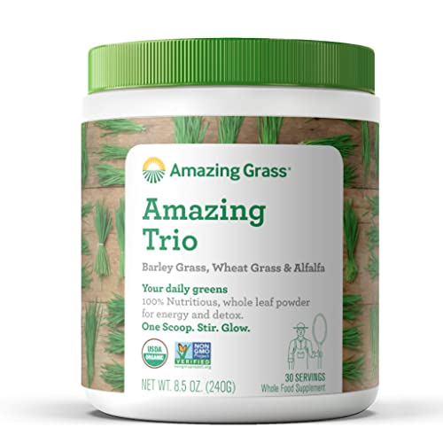 Amazing Grass Greens Trio Greens Powder with Wheatgrass, Alfalfa, Barley Grass, Rich Source of Chlorophyll, 30 Servings