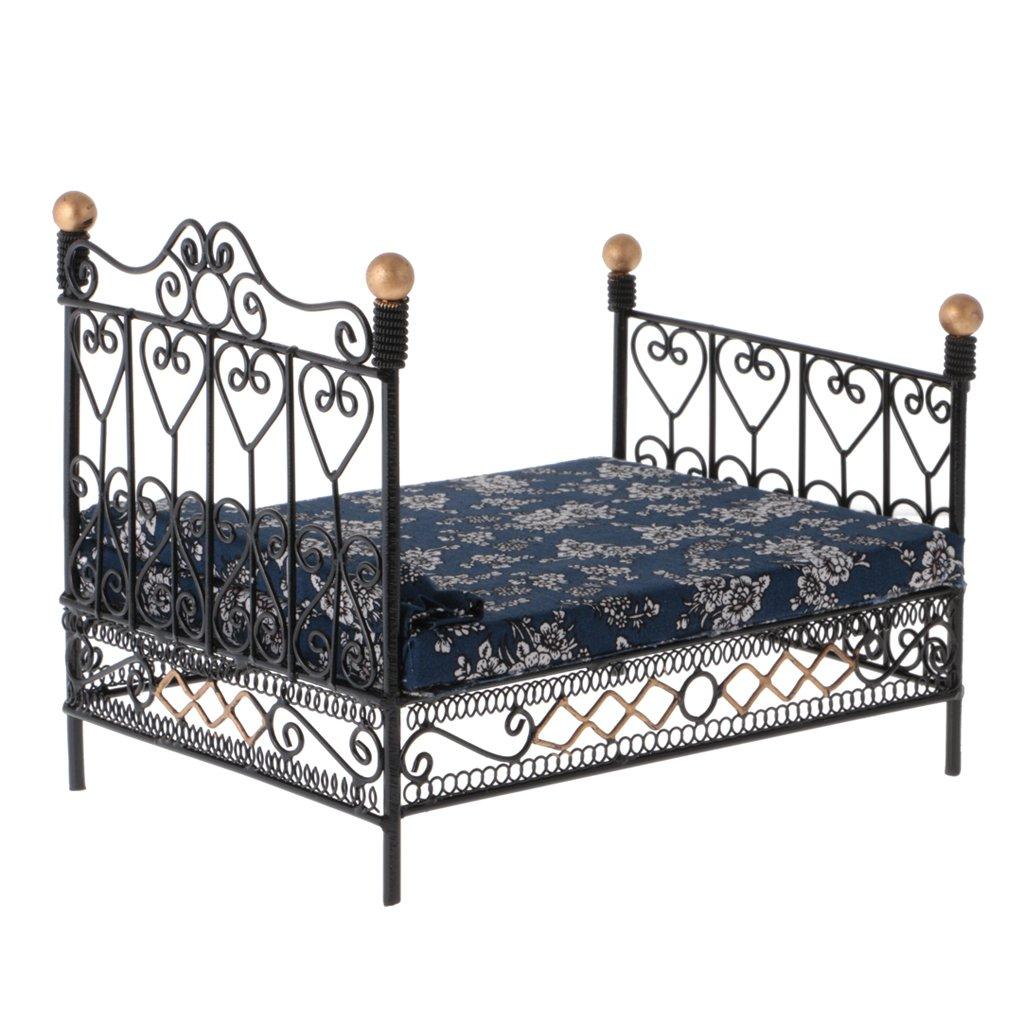 RETYLY 1 12 Dormitorio en Miniatura de Casa de Muneca Cama de Metal de Muebles con colchon Juguete de Accesorio Negro