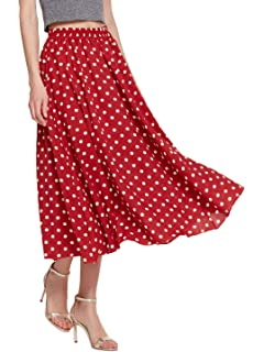 01fcebecd2 Amormio 👗 Women's Cute Polka Dot Printed Chiffon A-Line Swing Boho Long  Maxi Pleated