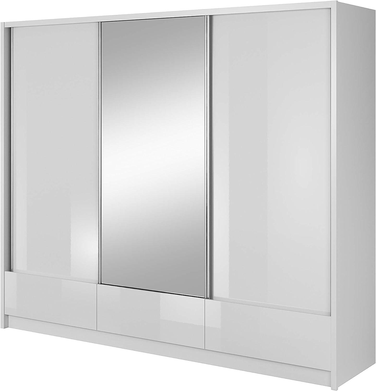 E-MEUBLES - Armario con estantes, Puertas correderas, Espejo ...