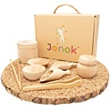 JANOK Sensory Bin Tools, Montessori Toys for Toddlers, Sensory Toys, Waldorf Toys, Wooden Scoops and Wooden Tongs for Transfe