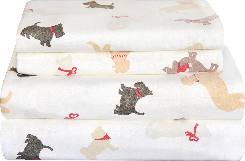 Amazon Com Pointehaven Heavy Weight Flannel Sheet Set Queen Winter Dogs Home Kitchen