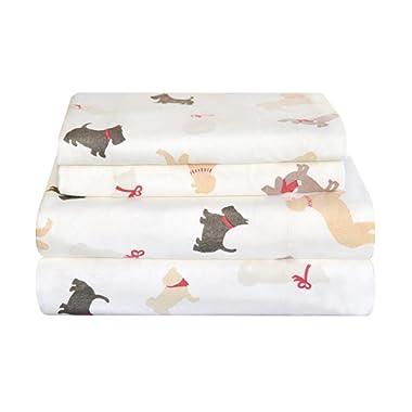 Pointehaven Heavy Weight Flannel Sheet Set King Winter Dogs