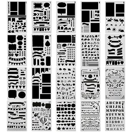 Set de 20 plantillas Surblue. Plantillas con diseños para diario, á