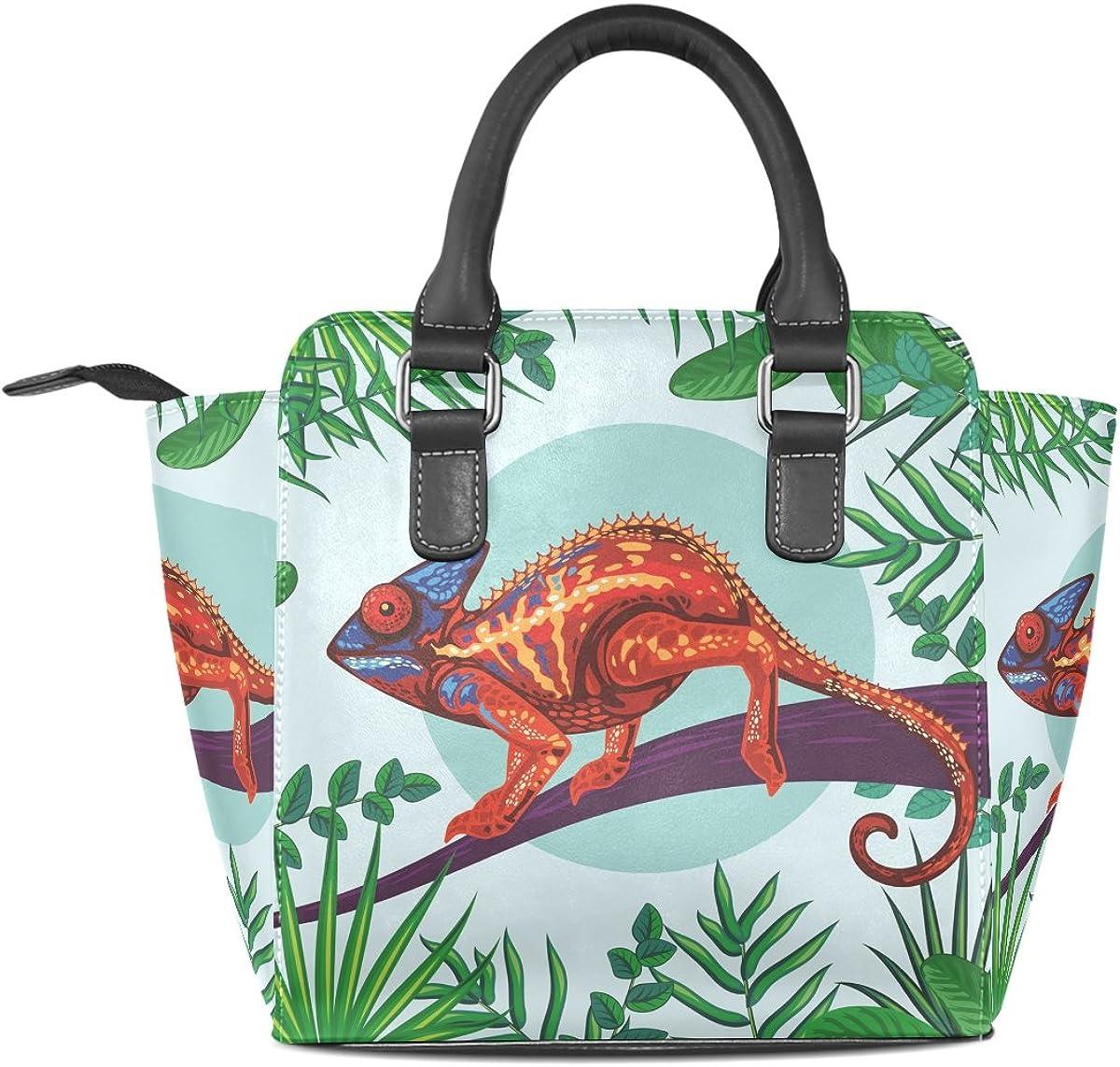 Jennifer Chameleon With Green Leaves PU Leather Top-Handle Handbags Single-Shoulder Tote Crossbody Bag Messenger Bags For Women
