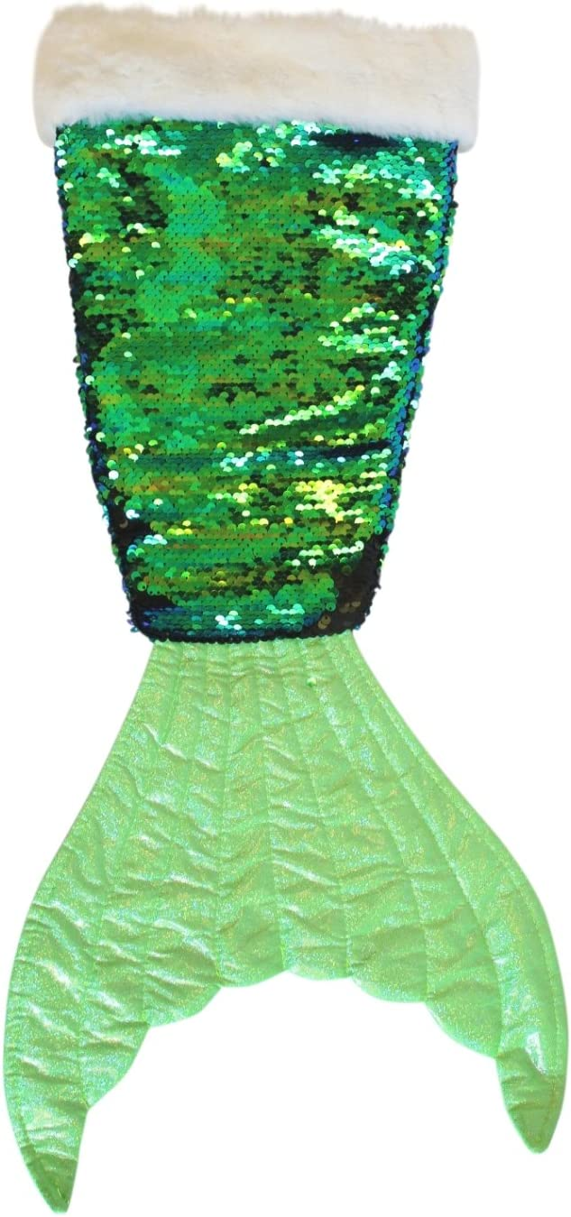 Fancy That Shimmering Green Sequined Mermaid Tail Christmas Holiday Stocking