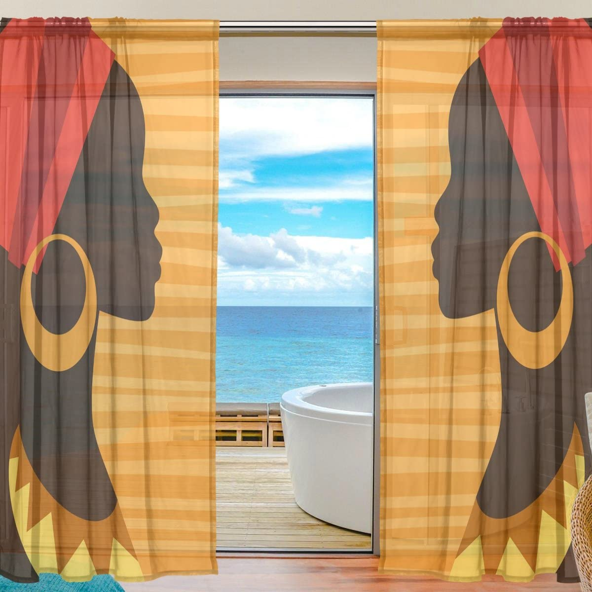 ALAZA Voile Sheer Window Curtain Silhouette African Girl with Earrings Door Way Tulle Curtain Drapes Panels for Living Room Bedroom Kitchen 55×78 inch, Set of 2