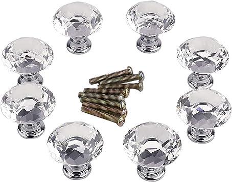 Surepromise 30 mm 4 unidades Pomos de cristal para muebles de cocina