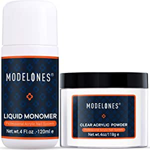 Modelones Clear Acrylic Powder Kit 4 oz + Professional Liquid Monomer 4 oz Nail System For Nail Extension acrylic powder and liquid set No Need UV/LED Lamp, Easy to Apply, Fast Dry Powder