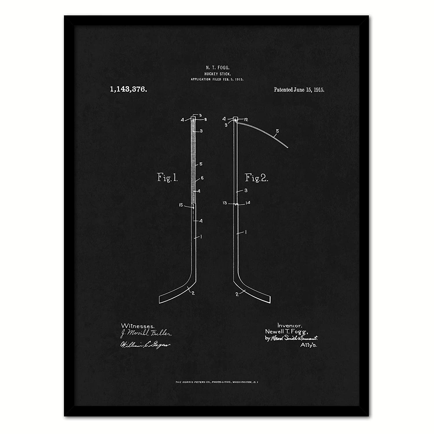 "1915 Hockey Stick US Patent Canvas Print, Art, Vintage, Modern, Urban, Wall Decor, Accents, Home Decor, Business, Accents, Ready to Hang, Black Frame, 22"" x 29"""