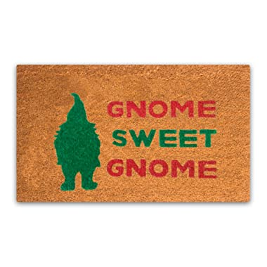 MPLUS Pure Coco Coir Doormat with Heavy-Duty PVC Backing - Gnome Sweet Gnome - Perfect Color/Sizing for Outdoor/Indoor uses. Pile Height: 15mm - Size: 18 -Inches x 30 -Inches