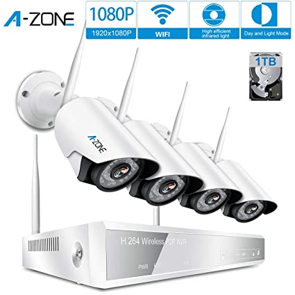 A-ZONE 4 Canales Kit de Videovigilancia full HD 1080P NVR 4x 2.0MP Wifi