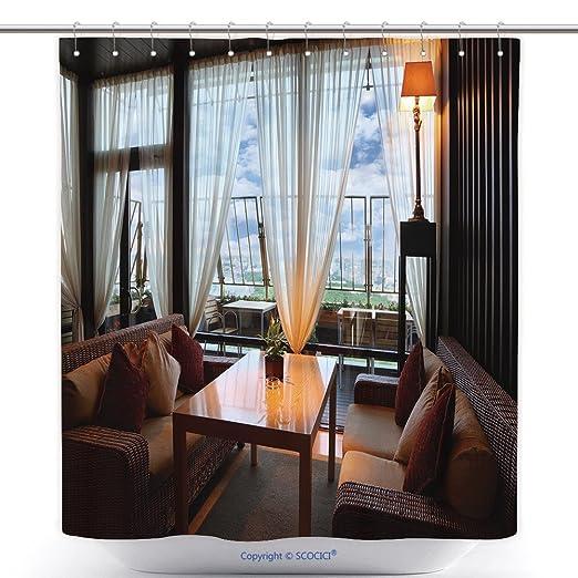 Cortinas de ducha impermeable mimbre sillones y mesa en ...