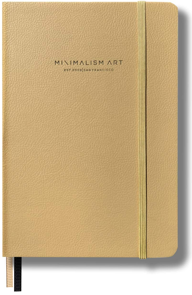 Minimalism Art - Premium Edition Notebook Journal - Medium A5 5.8x8.3 - Wide Ruled - Hard Cover - White -234NumberedPages -GussetedPocket -Ribbon Bookmark - Ink-ProofPaper120gsm -San Francisco