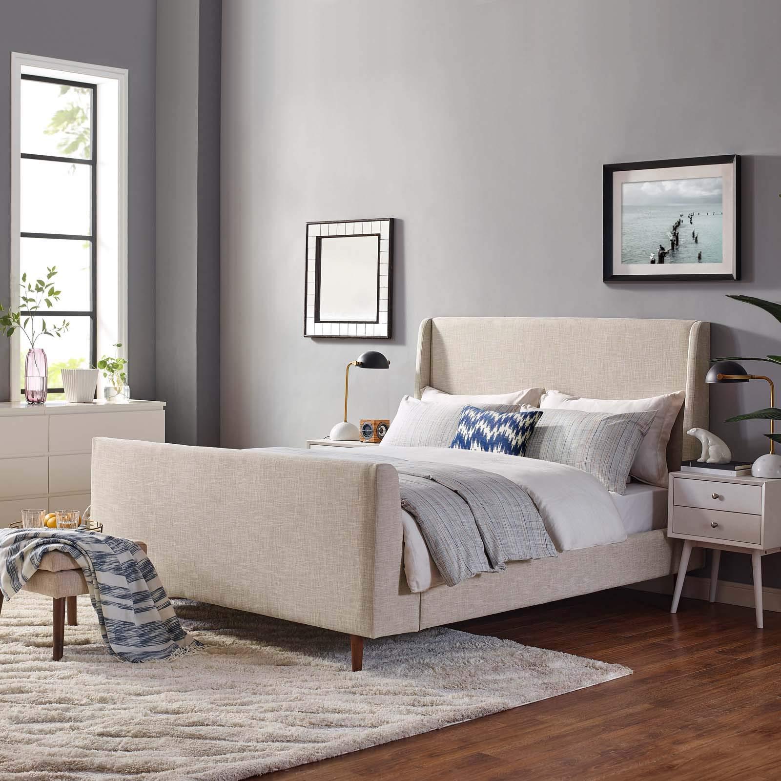 Modway MOD-5824-BEI Aubree Queen Upholstered Fabric Sleigh Platform Bed, Beige