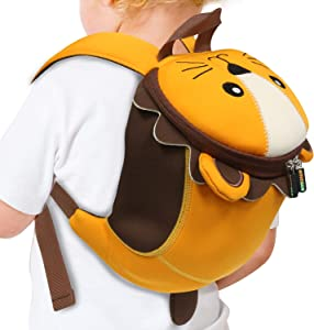 Emmzoe Toddler 3D Animal Backpack with Detachable Safety Harness Leash - Lightweight, Water Resistant, Adjustable - Fits Snacks, Food, Toys (Lion)