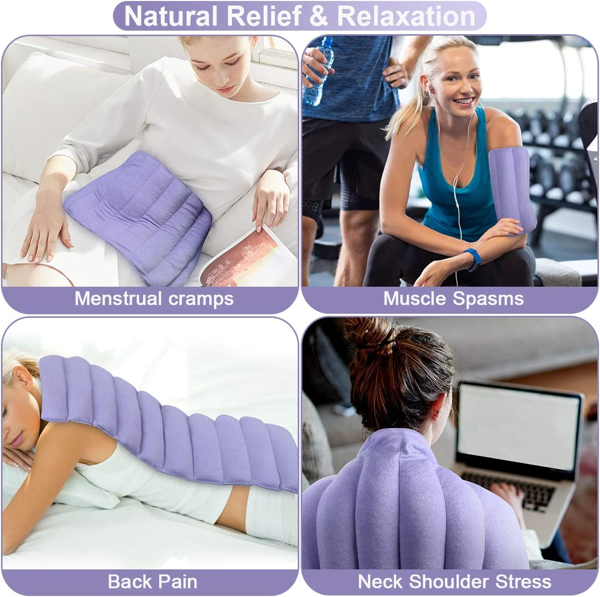 REVIX Extra Large Microwavable Heating Pad for Back Pain Microwave Heat Wrap for Stomach Cramps, Shoulder and Neck Moist Hot or Cold Therapy: Health & Personal Care