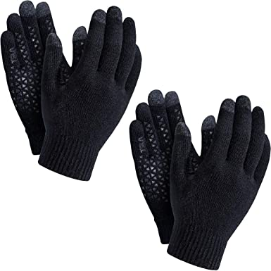 Cold Weather Running Gloves TSLA 1 or 2 Pack Men and Women Touch Screen Winter Gloves Texting Anti-Slip Thermal Knit Gloves