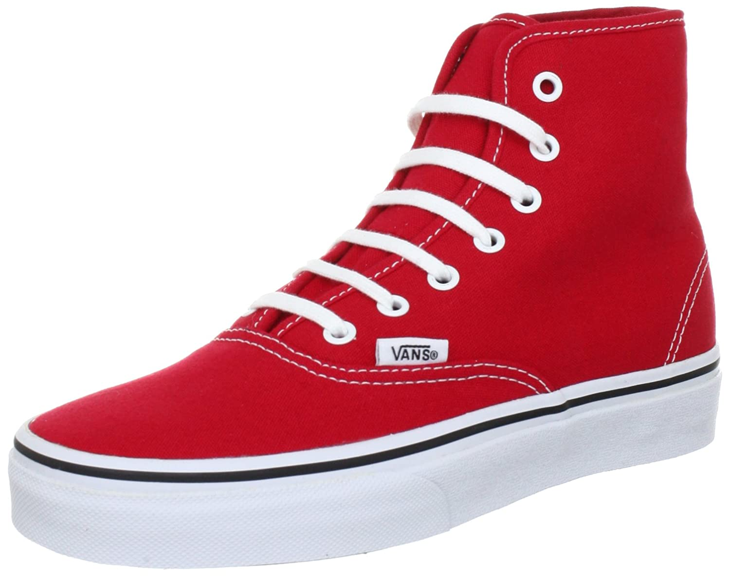 red and white high top vans